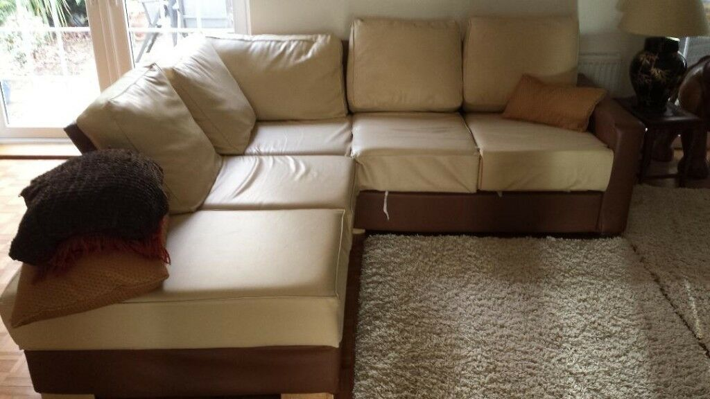 Nabru Corner Sofa Bed Cream And Brown In Farnham Common