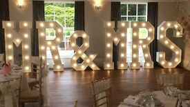 """Hire our stunning 5ft Light Up""""MR & MRS"""" £250"""