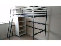 Ikea single metal loft silver bed