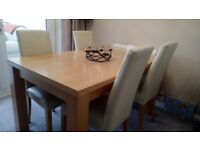 Dining Table Beech Effect with 4 Cream Leather Chairs