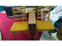 Small gateleg. Table with 2 chairs vintage