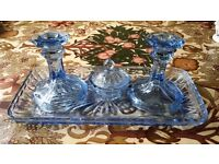 Old blue glass dressing table set