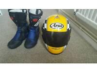 Arai motorcycle helmet and boots