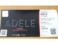 ADELE The Finale: One Ticket for sale WEDNESDAY 28 JUNE London Wembley Pitch Standing
