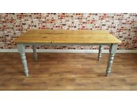 Antique Pine Vintage Farmhouse Wood Kitchen Dining Table - Range of Sizes