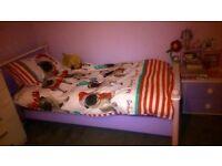 Childs/Girls Bedroom set - Wardrobe, Bed, Chest Drawers, Bedside Pedestal - Lilac, Pink, White- Wood