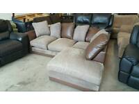 Brown and faux leather corner sofa. Great condition. Will deliver £160 ono