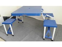 Selection of camping equipment (fold-away table/benches & wardrobe & water kit with barrow