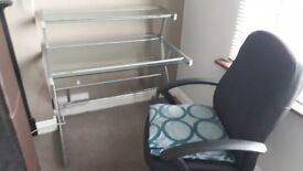 Glass Office Desk and aluminum/silver frame