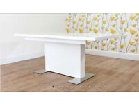New White Gloss Extending Dining Table (6-8 People) + 50% Off