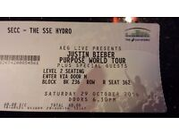 Justin Beiber seated Ticket Saturday 29th October