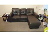 Brown faux leather corner sofa for sale