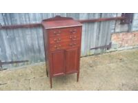 Vintage Mahogany Inlaid Mahogany Music Chest of Drawers Cupboard.