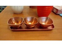 Casa Couture Copper Trio Of Bowls On Tray