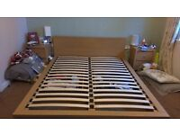 Next Oak Veneer King Size Bed with 2 Under Bed Drawers £50