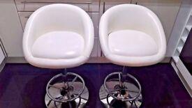 Pair of Debenhams bar stools (2) - white faux leather - adjustable