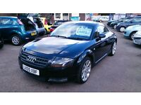 2005 AUDI TT 1.8 COUPE 180 IN BLACK NEW MOT ONLY 86K WITH F/S/H BLACK LEATHER CD M/CHANGER ALLOYS EW