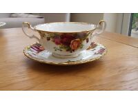 Royal Albert Old Country Roses Soup Coupe Cup Bowl and Saucer