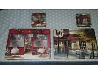 10 x Parisian Table/Place Mats with matching coasters and cork backing