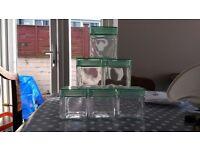 6 square jars 10cmx10cm £5 for all