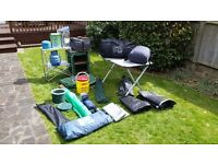 Camping Equipment Job Lot ,Tent , Utility Tent , Bench/Cupboard, Table , plus many extras