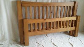 Solid Oak Kingsize Bed, VGC, Very Heavy & Chunky. ..