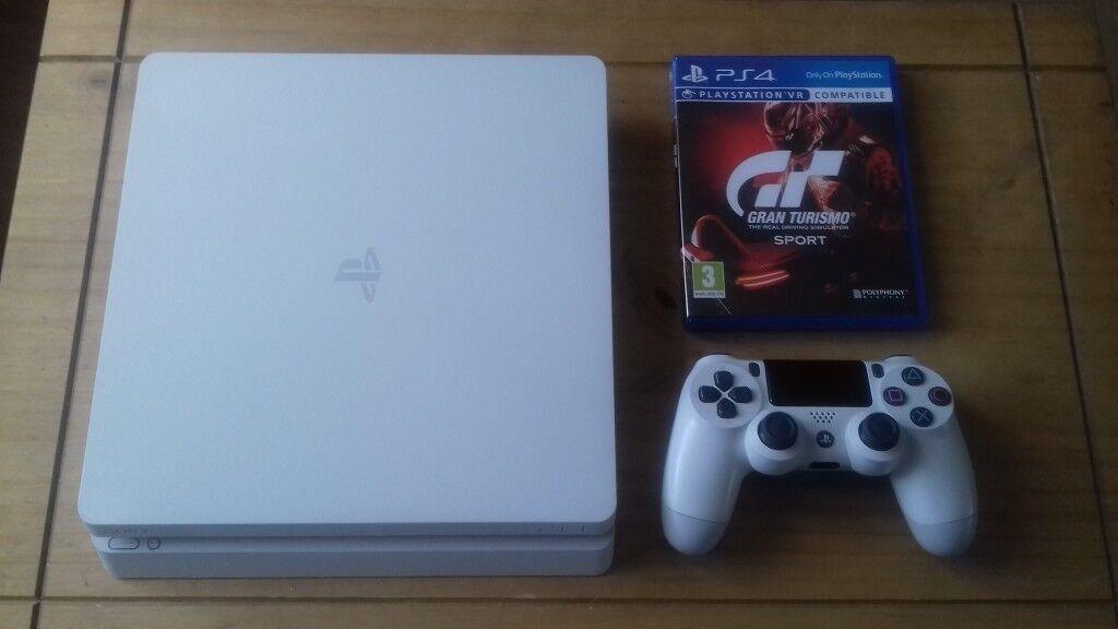 6b05d1f24ab7 New Sony PlayStation 4 (Slim) 500Gb Glacier White including Gran Turismo  SPORT (Boxed)