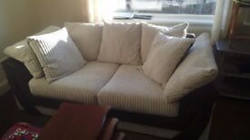 Three seater cream and brown sofa imaculate as new cost 700 sell for 100 no offers must be seen