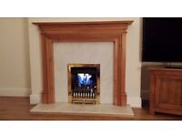 Gas real flame Fire with solid pine surround and marble hearth.