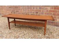 Beautiful vintage mid century Danish Long and low coffee table.