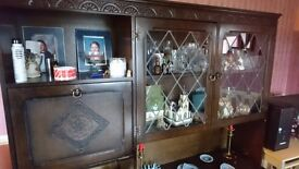 Beautiful wall unit with display shelves and leaded glass
