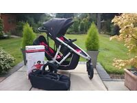 Phil and Teds Vibe V2 three buggy with double kit and Vive newborn coccon