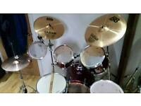 Mapex Drum Kit with extra Tom, Sabian Cymbals, Mapex carry bags and Vic Firth pads