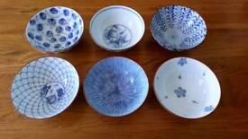 A set of SIX Japanese Finger Bowls