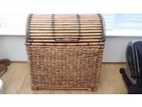 Large Banana Weave / Bamboo Frame and Lid Deep Storage Trunk.