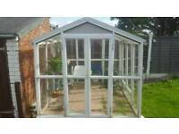 7 foot square glass and upvc green house
