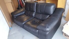 Black 2 seat leather sofa