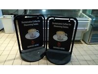 Two swing signs coffee shop A board retail advertising