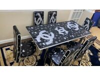 NEW EXTENDABLE HIGH GLOSS TABLE WITH 6 CHAIRS NOW IN STOCK