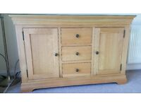 Solid Light Oak Sideboard with FREE protective anti-scratch Glass Top. Almost New