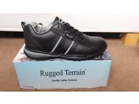 NEW RUGGED TERRAIN MENS BLACK LEATHER SAFETY / WORK TRAINERS SIZE 10 / 44
