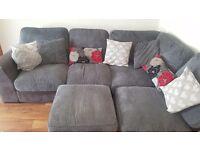 Grey cord and black leather Corner Sofa