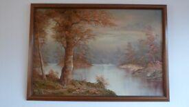 Extra Large Landscape Oil Painting Signed CAFIERI 99cm X 68cm VGC