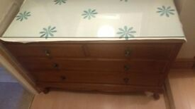 1940's style dressing table with glass top.