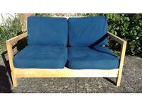 2 seater sofa. Pine frame. Loose cushions removable covers £65.00 Glastonbury