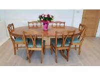 Ducal Extending pine dining table and 6 chairs.
