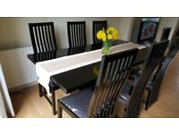 High Black Gloss Dining Table with 6 Chairs
