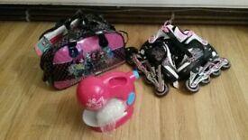 Kids roller blades & brats sewing machine