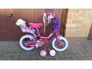 "Raleigh Molly 12"" Inch Wheel Girls Kids Junior Bike Pink Ages 2-5"
