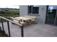Garden table railway sleeper table garden furniture set seat bench Summer Loughview JoineryLTD